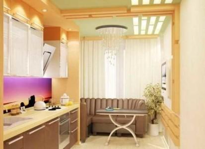 Дизайн присоединенного балкона к кухне