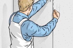Проверка ровности стен с помощью отвеса