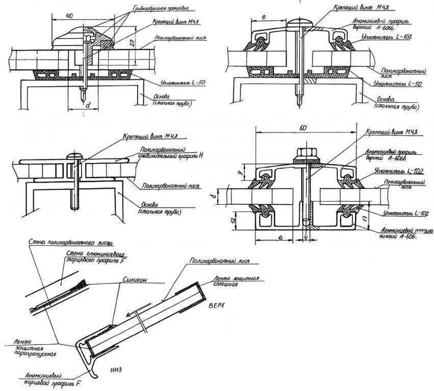 Схема крепления сотового поликарбоната.