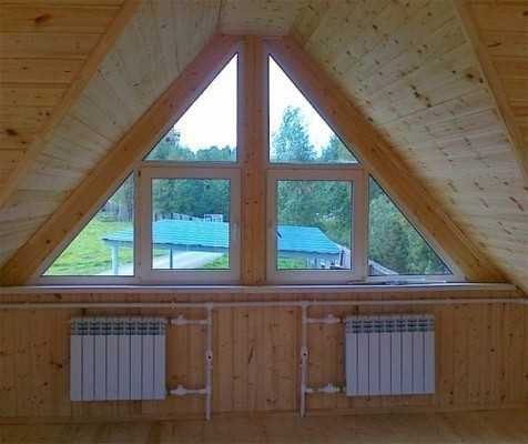 Окна такой формы хорошо подчеркнут необычный фасад дома, и вместе с этим они не требуют компромиссов в функциональных достоинствах пластиковых окон.