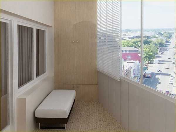 Балкон, облицованный пластиком и гипсокартоном