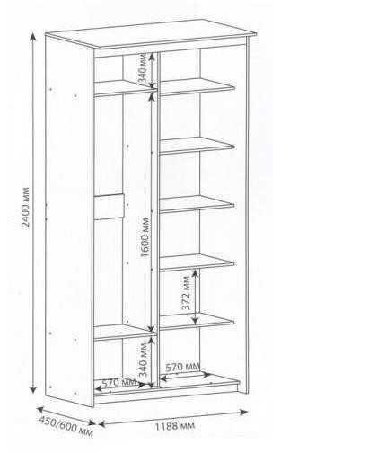 Чертеж простейшего шкафа для балкона с точными размерами