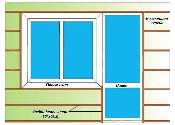 Деревянная обрешетка балкона