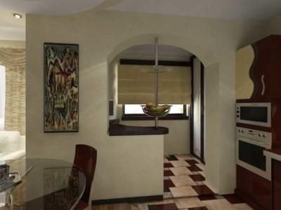Дизайн объединенной кухни и балкона