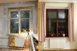 Деревянное окно до и после реставрации