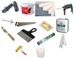 Инструменты и материалы для монтажа утеплителя на наружную поверхность балкона