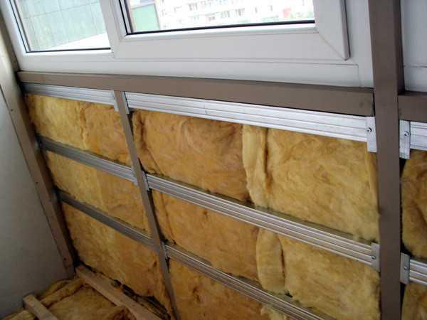 Парапет балкона, утепленный минеральной ватой