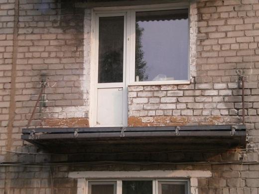 укрепление балконной плиты на верхнем этаже